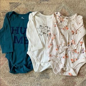 Girls' Long Sleeve Onesies Lot Size 6-12 Months